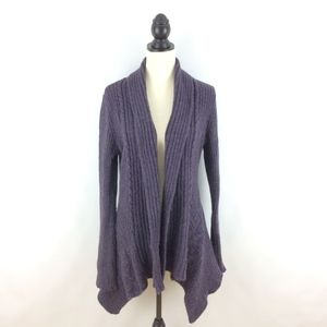 ANTHRO CANARY women's purple open cardigan sweater